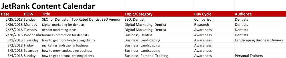 content calendar as part of a digital marketing campaign