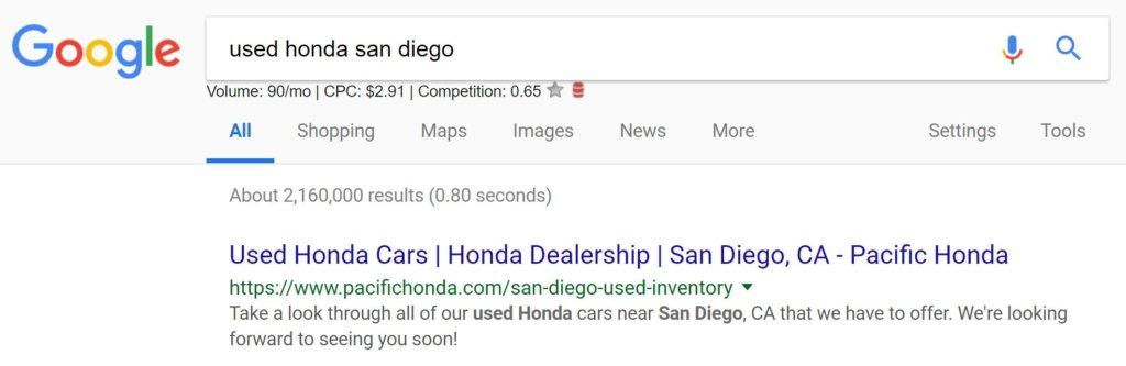 car dealer seo honda keyword