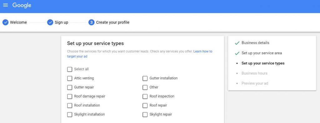 select your service types on Google local ads