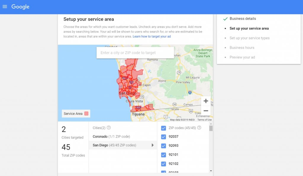 set up your service area on Google local ads